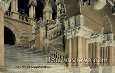 Western Staircase, Capitol - Albany, New York NY Postcard