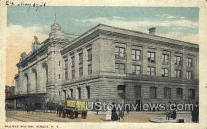 Railway Station - Albany, New York NY Postcard