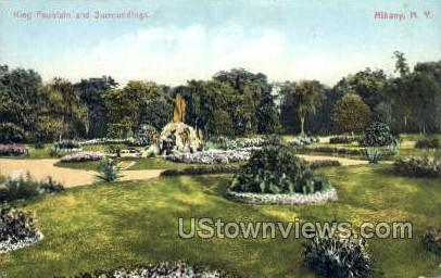 King Fountain & Surroundings - Albany, New York NY Postcard