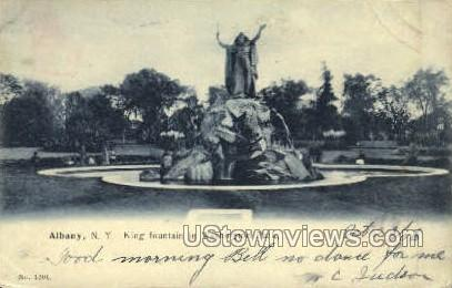 King Fountain Washington Park - Albany, New York NY Postcard