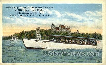 Capt. Adkin's New Observation Boat - Alexandria Bay, New York NY Postcard