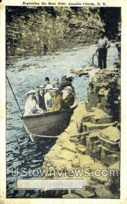 Boat Ride - Ausable Chasm, New York NY Postcard