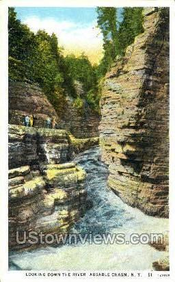 The River - Ausable Chasm, New York NY Postcard