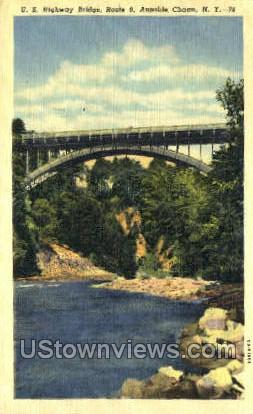 Highway Bridge - Ausable Chasm, New York NY Postcard