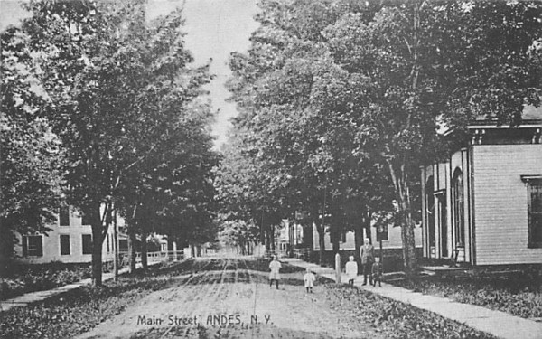 Main Street Andes, New York Postcard