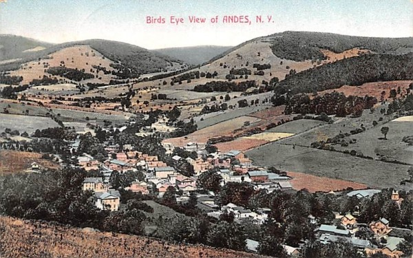 Bird's Eye View Andes, New York Postcard