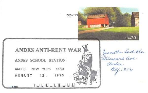 Andes Anti Rent War New York Postcard