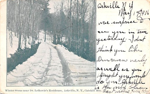 Winter Scene near Dr Lefkovic's Residence Arkville, New York Postcard