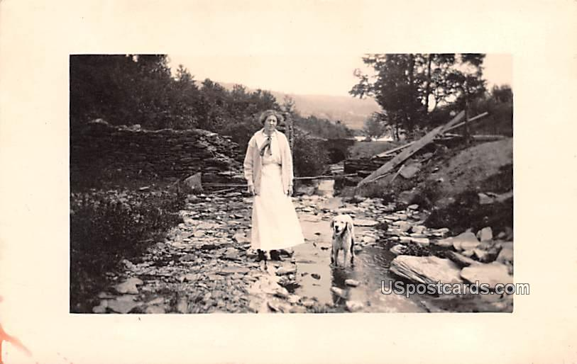 Woman and Dog - Andes, New York NY Postcard