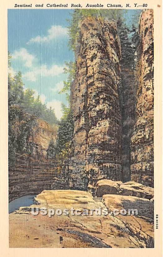 Sentinel & Cathedral Rock - Ausable Chasm, New York NY Postcard