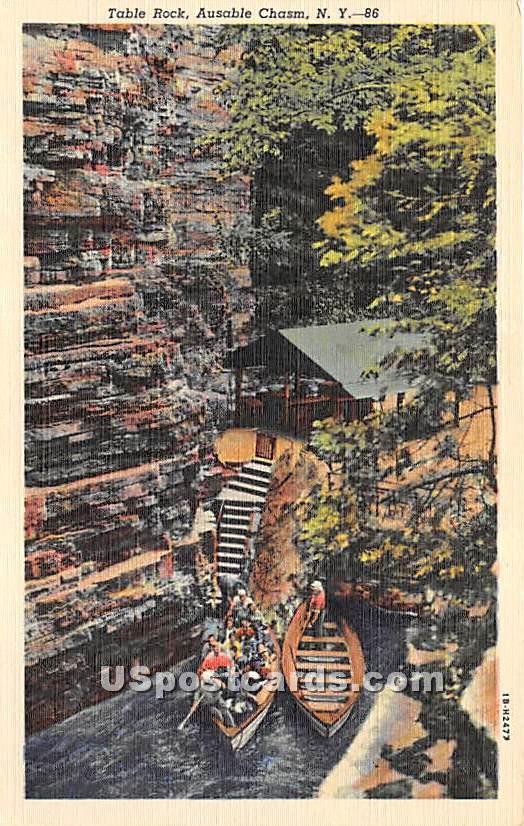 Table Rock - Ausable Chasm, New York NY Postcard