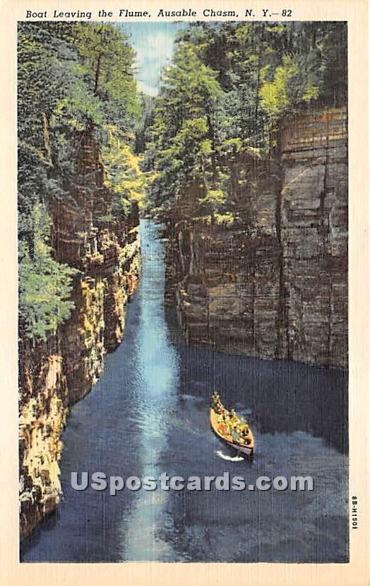 Boating, Flume - Ausable Chasm, New York NY Postcard