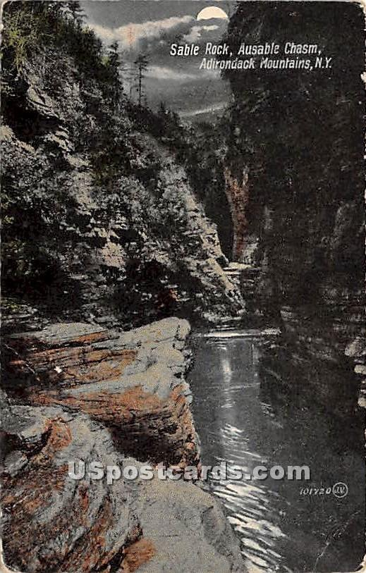 Sable Rock - Ausable Chasm, New York NY Postcard