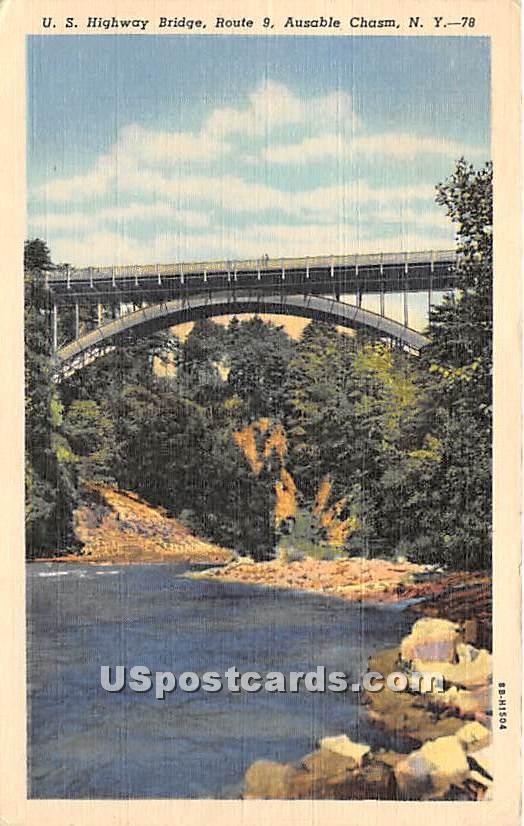 US Highway Bridge - Ausable Chasm, New York NY Postcard