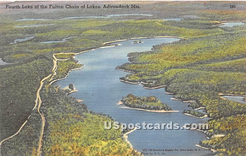 Fourth Lake, Fulton Chain of Lakees - Adirondack Mts, New York NY Postcard