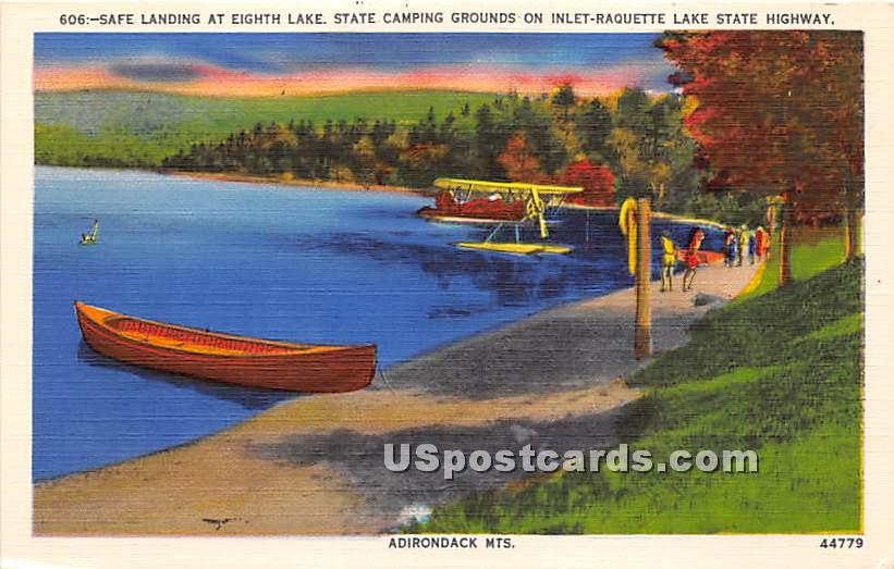 Safe Landing, Eighth Lake, State Camping Ground - Adirondack Mts, New York NY Postcard