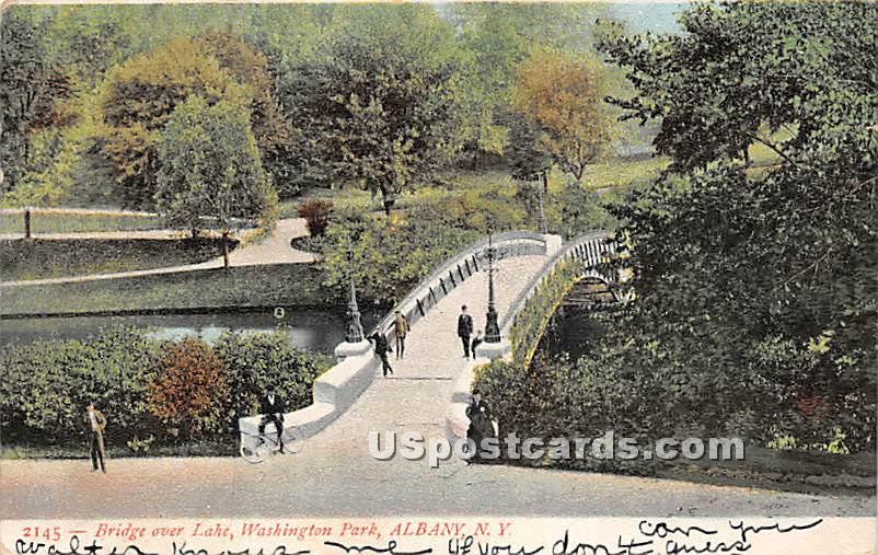 Bridge over lake, Washington Park - Albany, New York NY Postcard