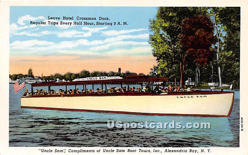 Leave Hotel Crossmon Dock, Uncle Sam - Alexandria Bay, New York NY Postcard