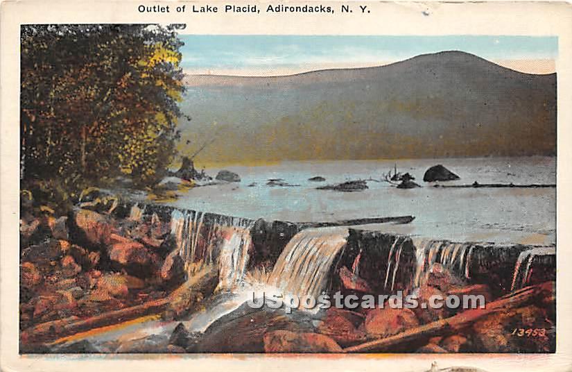 Outlet of Lake Placid - Adirondacks, New York NY Postcard
