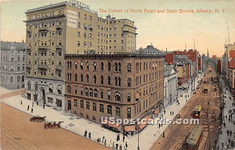 Corner of North Pearl & State Streets - Albany, New York NY Postcard