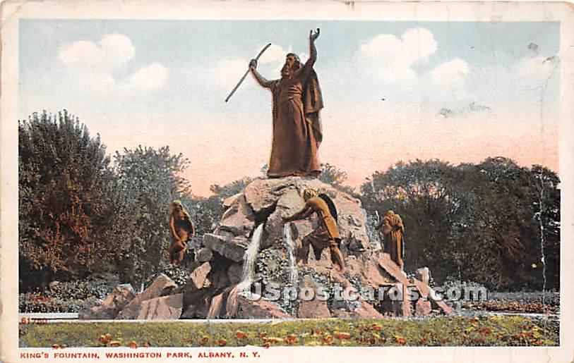 King's Fountain, Washington Park - Albany, New York NY Postcard