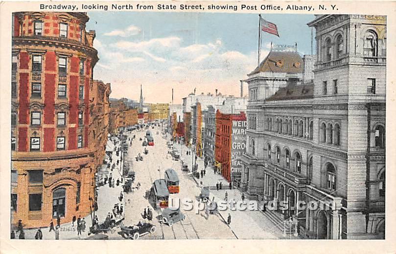Broadway, Post Office - Albany, New York NY Postcard