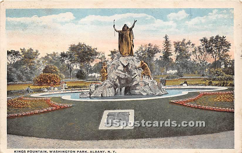 Kings Fountain, Washington Park - Albany, New York NY Postcard