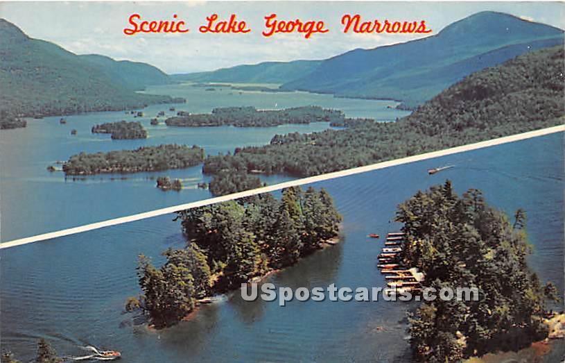 Scenic Lake George - Adirondacks, New York NY Postcard