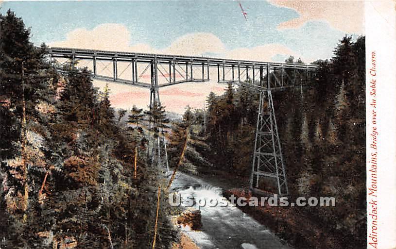 Bridge, Ausable Chasm - Adirondack Mts, New York NY Postcard