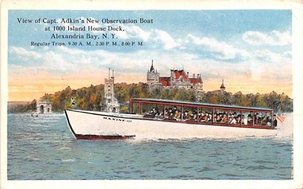 View of Capt Adkin's New Observation Boat Alexandria Bay, New York Postcard