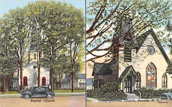 Baptist Church Arcade, New York Postcard