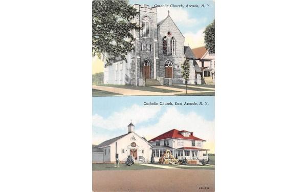 Catholic Church Arcade, New York Postcard