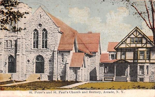 St Peter's & St Paul's Church & Rectory Arcade, New York Postcard