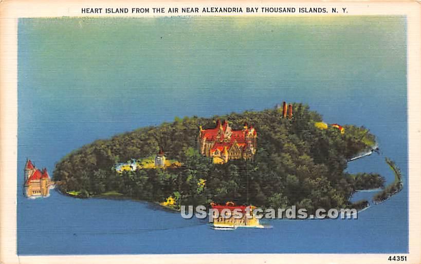 Heart Island - Alexandria Bay, New York NY Postcard