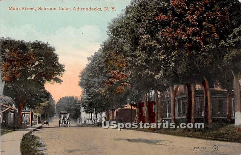 Main Street, Schroon Lake - Adirondacks, New York NY Postcard