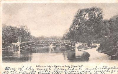Bridge over Lake in Washington Park Albany, New York Postcard