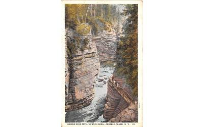 Bridge over Devil's Punch Bowl Ausable Chasm, New York Postcard