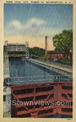 Barge Canal Lock - Baldwinsville, New York NY Postcard