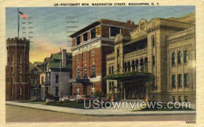 Fraternity Row - Binghamton, New York NY Postcard