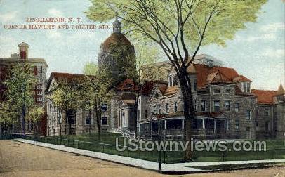 Corner Hawley & Collier Sts. - Binghamton, New York NY Postcard