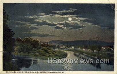 Chenango River - Binghamton, New York NY Postcard