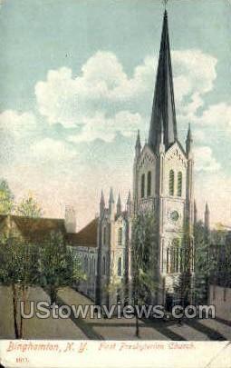 First Presbyterian Church - Binghamton, New York NY Postcard