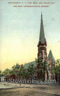 First Congregational Church - Binghamton, New York NY Postcard