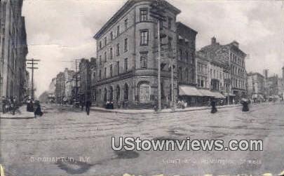 Court and Washington Street - Binghamton, New York NY Postcard