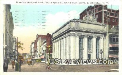 City National Bank, Washington St. - Binghamton, New York NY Postcard