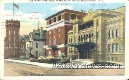 Fraternity Row, Washington Street - Binghamton, New York NY Postcard