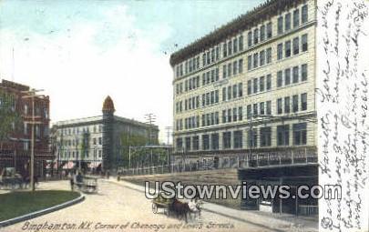 Corner Chenango & Lewis Streets - Binghamton, New York NY Postcard