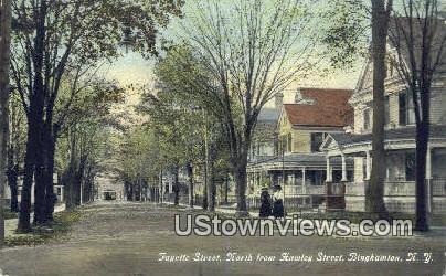 Fayette Street, North of Hawley Street - Binghamton, New York NY Postcard