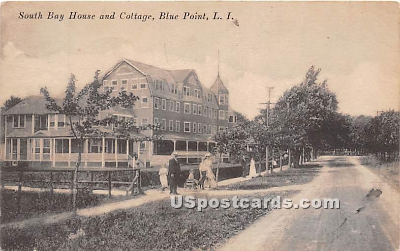 South Bay House & Cottage - Blue Point, New York NY Postcard