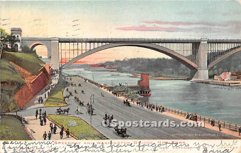 Speedway & Washington Bridge - Brooklyn, New York NY Postcard